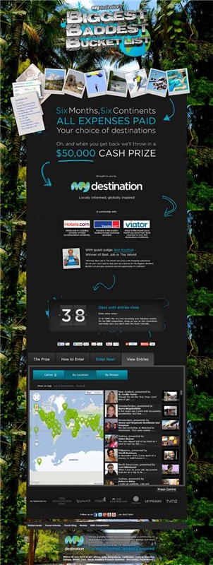 My Destination The Biggest Baddest Bucket List MyBBB social media campaign mcirosite image