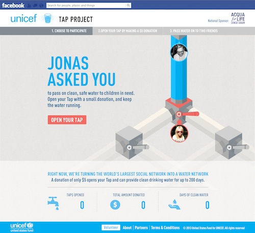 Hyperlink to the UNICEF Tap Project facebook landing page