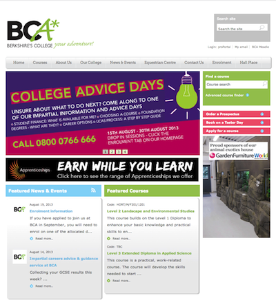 Berkshire College of Agriculture (BCA) webiste homepage screenshot