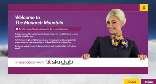 Monarch Airlines Monarch Mountain marketing campaign welcome page