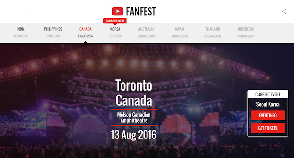 YouTube FanFest Canada homepage image