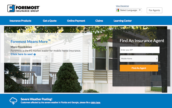 Foremost Insurance homepage image
