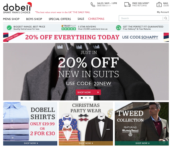 Dobell Menswear website homepage image
