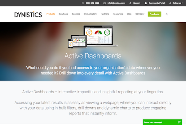Dynistics Active Dashboards webpage