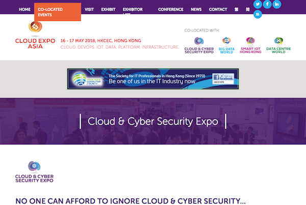 Cloud & Cyber Security Expo, Hong Kong 2018 webiste image 600x403