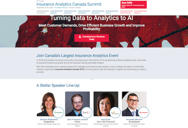 4th Annual Insurance Analytics Canada Summit website image