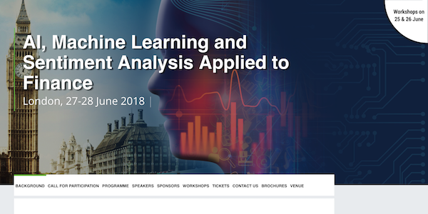 AI, Machine Learning and Sentiment Analysis Appiled to Finance banner 600x300