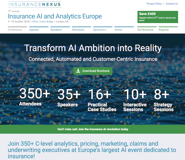 5th Annual Insurance AI and Analytics Europe 2018 homepage image