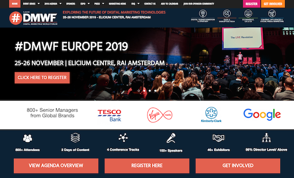 DMWF Europe 2019 – Digital Marketing World Forum – Amsterdam 2019 website image 600x
