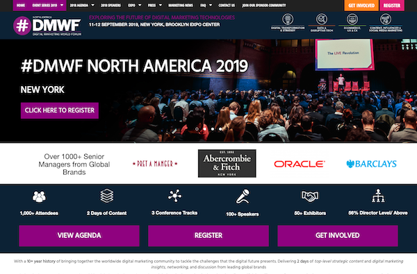DMWF North America 2019 - Digital Marketing World Forum - New York 2019 website image
