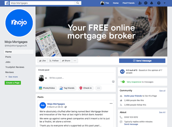 Mojo Mortgages Facebook page image